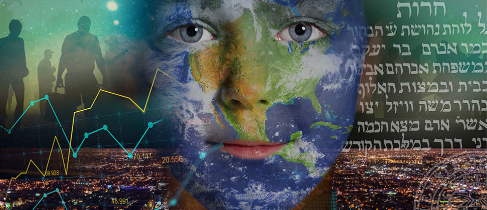 Photomontage: the earth in the shape of a face, a city, a stock market curve, Arabic text.
